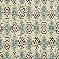 Single Pleat Drapery in 17451 Yuma Ikat/Slate with Insulation Lining in Ivory